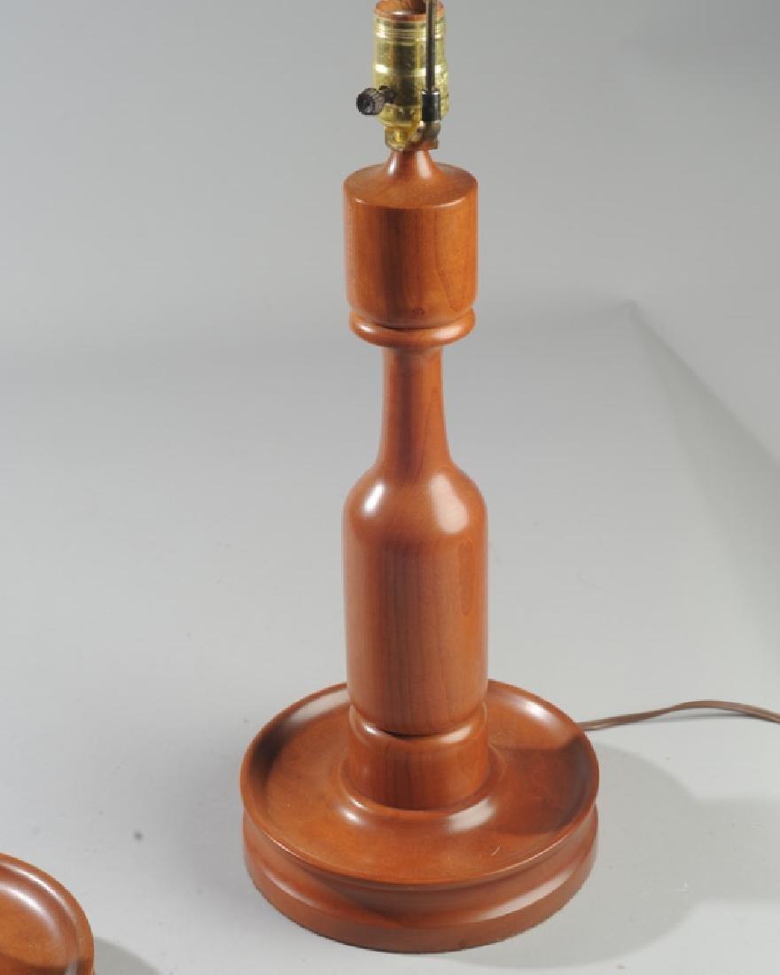 Pair of Vintage E.A. Clore Wooden Lamps - 2