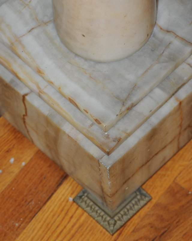 Pair of Brass Footed Marble Pedestals - 2