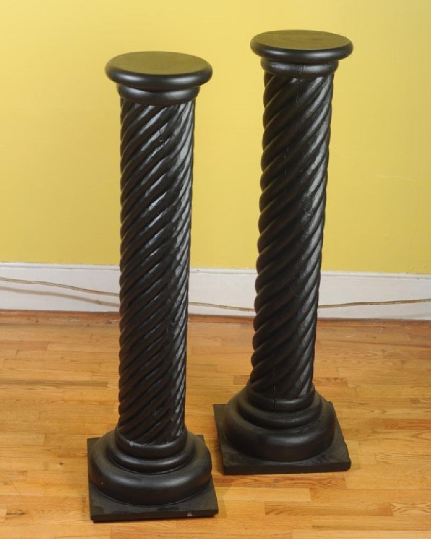 Pair of Contemporary Black Painted Wood Pedestals