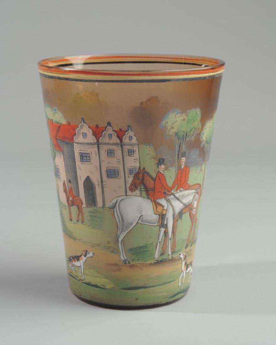 Czech Hunt Scene Glass Vase