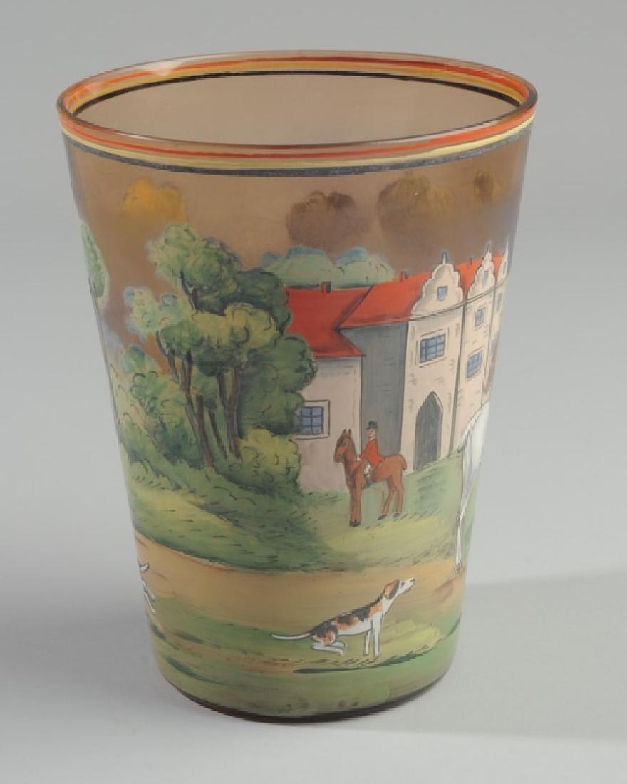 Czech Hunt Scene Glass Vase - 2