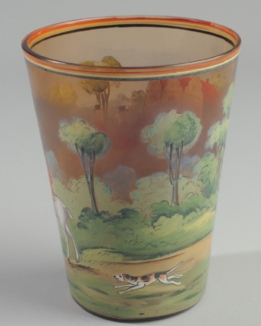 Czech Hunt Scene Glass Vase - 3