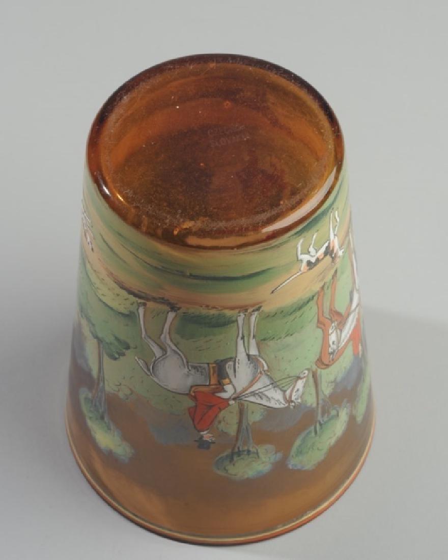Czech Hunt Scene Glass Vase - 4