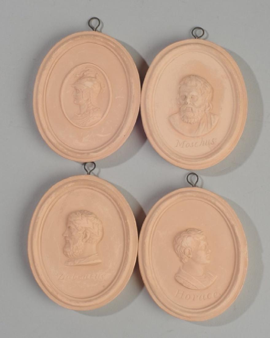 Set of 4 Miniature Terra Cotta Portrait Medallions