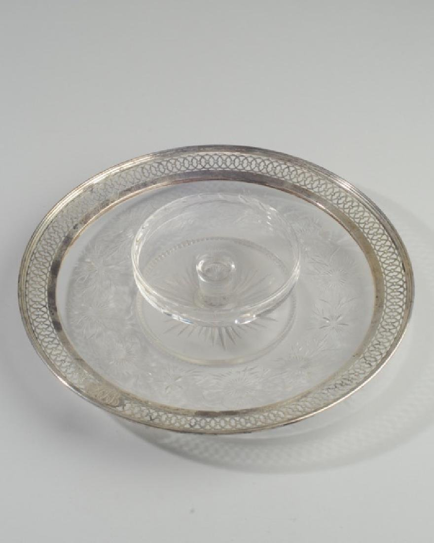 Cut Glass & Sterling Serving Dish