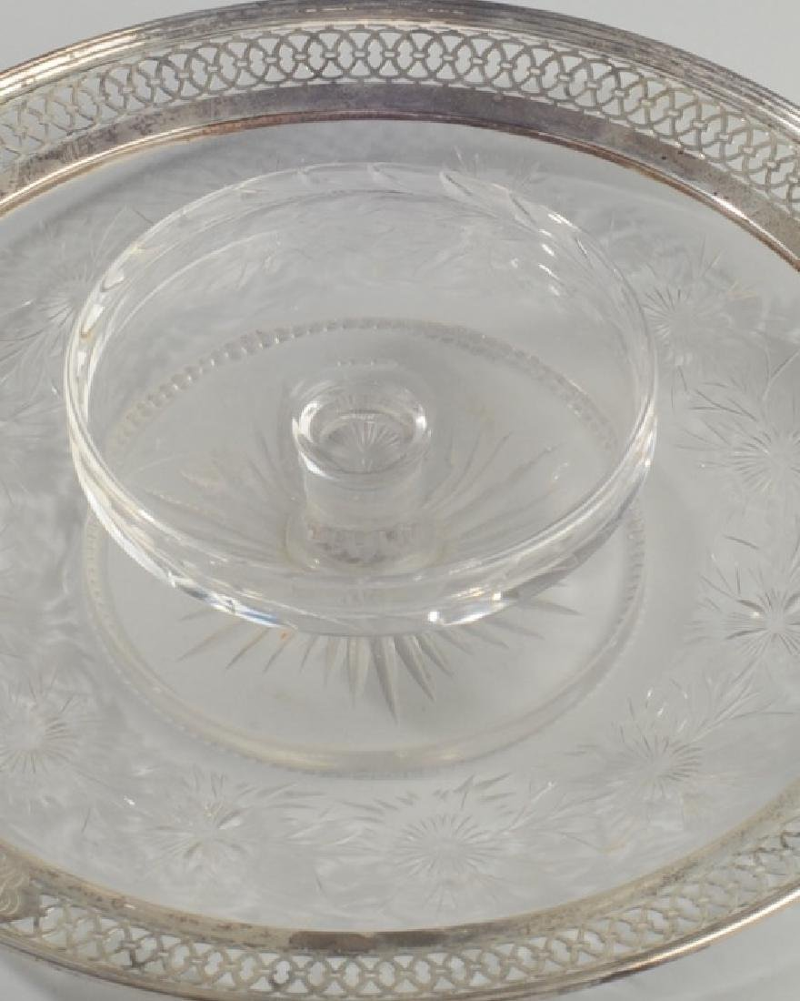 Cut Glass & Sterling Serving Dish - 2