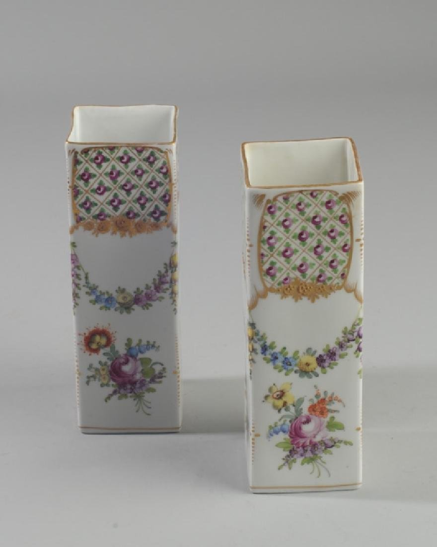 Pair L. 19th / E. 20th C. Dresden Porcelain Vases