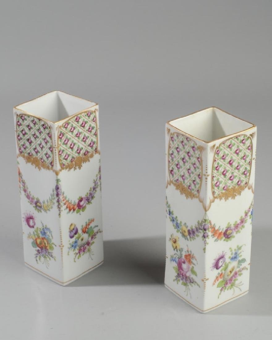 Pair L. 19th / E. 20th C. Dresden Porcelain Vases - 2