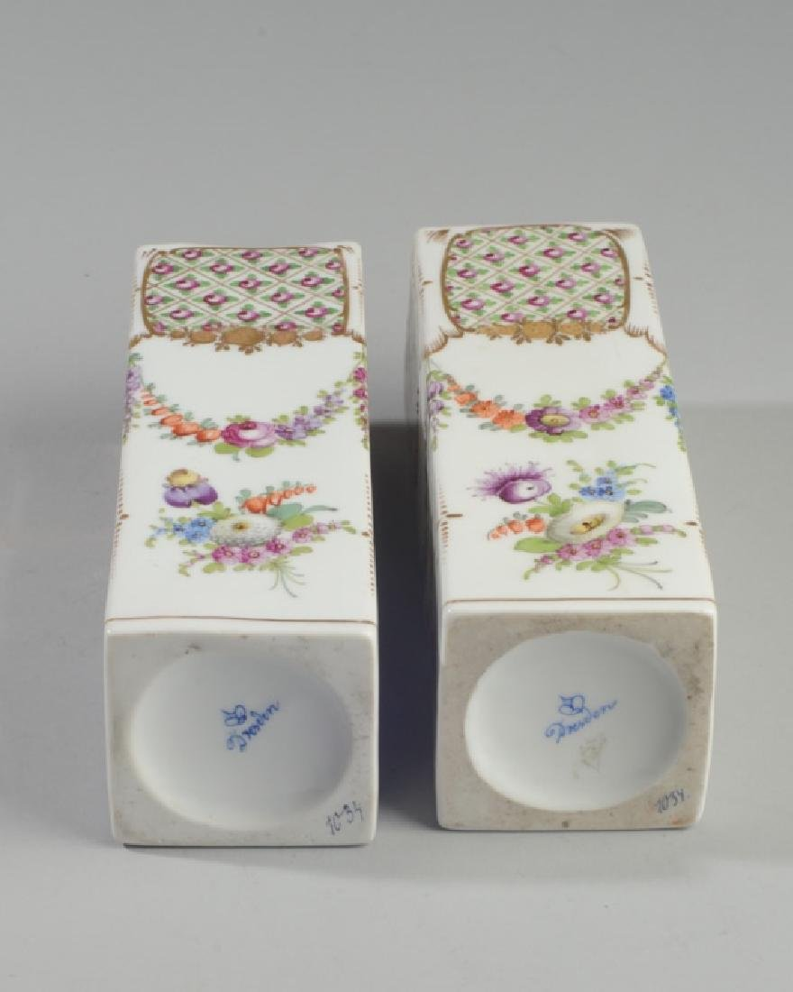 Pair L. 19th / E. 20th C. Dresden Porcelain Vases - 3