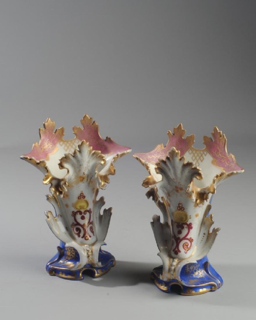 Pair 19th C. Old Paris Spill Vases