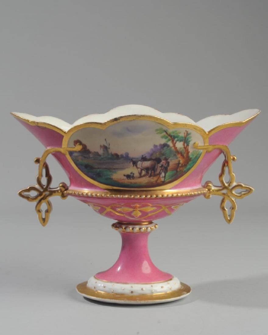 Old Paris Porcelain Compote Scenic