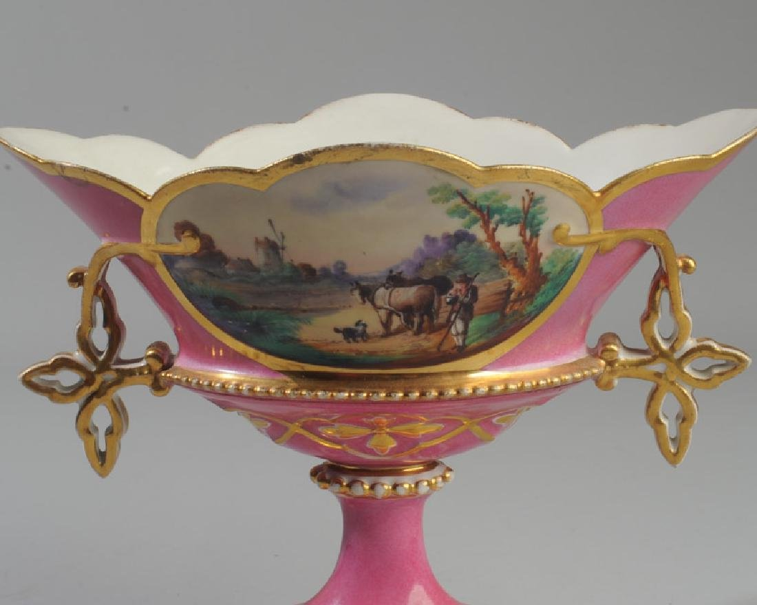 Old Paris Porcelain Compote Scenic - 2