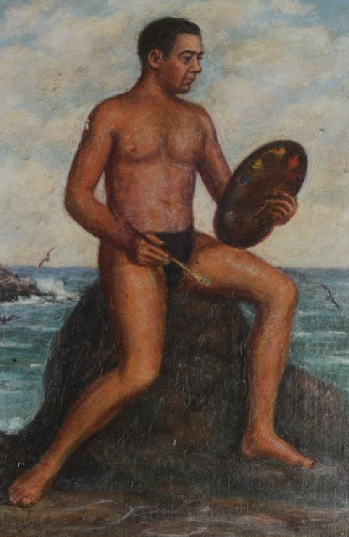 Oil on Board of Artist Painting by the Sea - 2