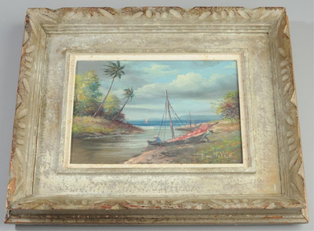 Oil on Board Tropical Scene