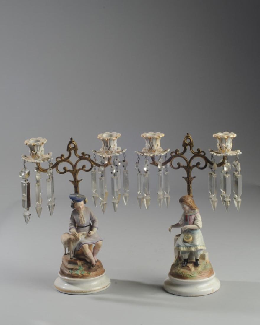 Pair Continental Figural Porcelain Candelabra