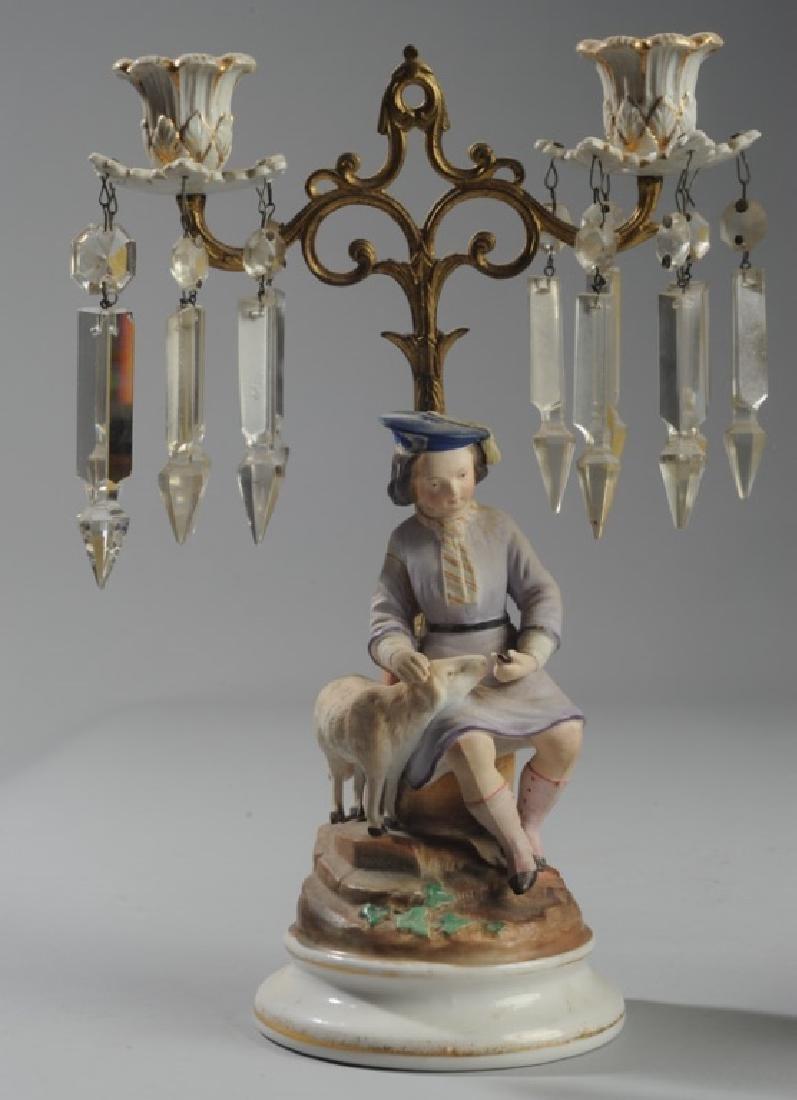 Pair Continental Figural Porcelain Candelabra - 2
