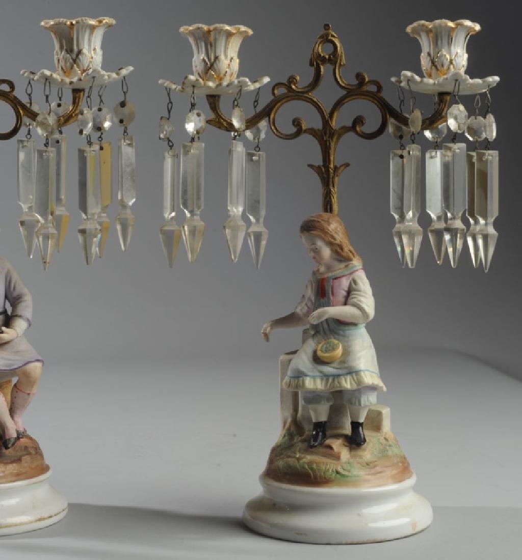 Pair Continental Figural Porcelain Candelabra - 3