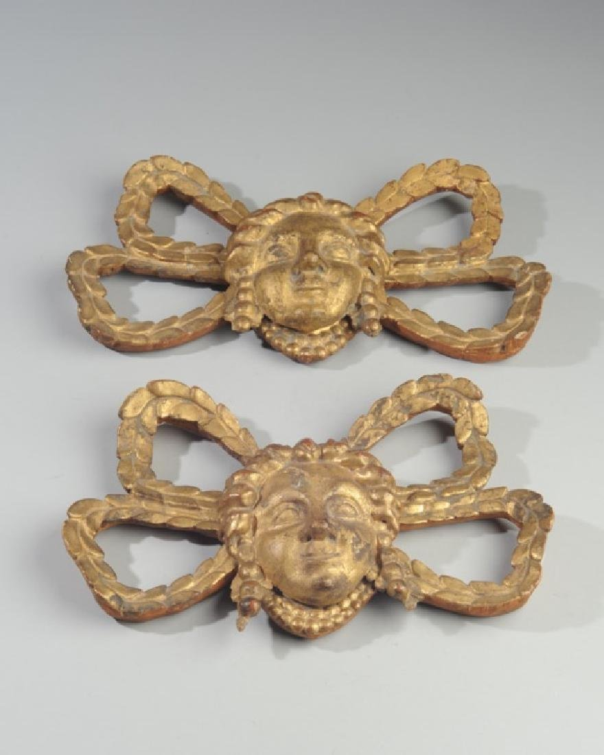 Pair Giltwood Architectural Elements Figural