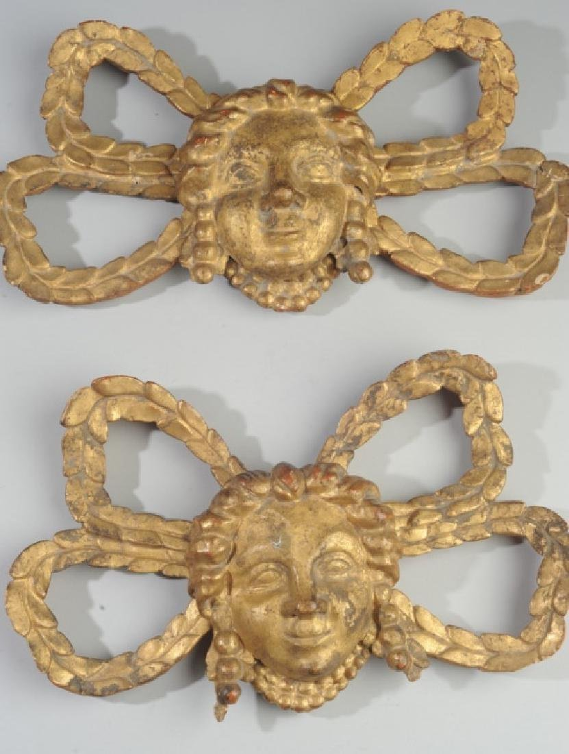 Pair Giltwood Architectural Elements Figural - 2