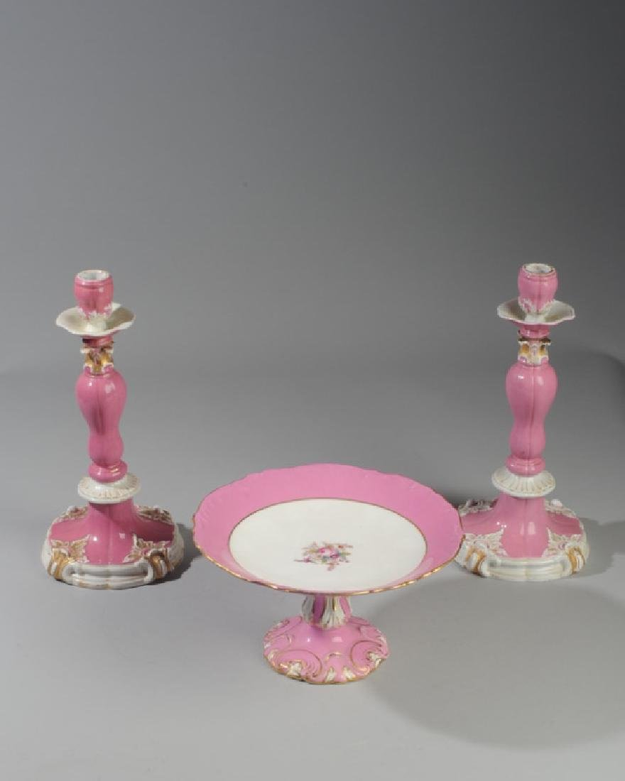19th C. Meissen Candlesticks with Compote
