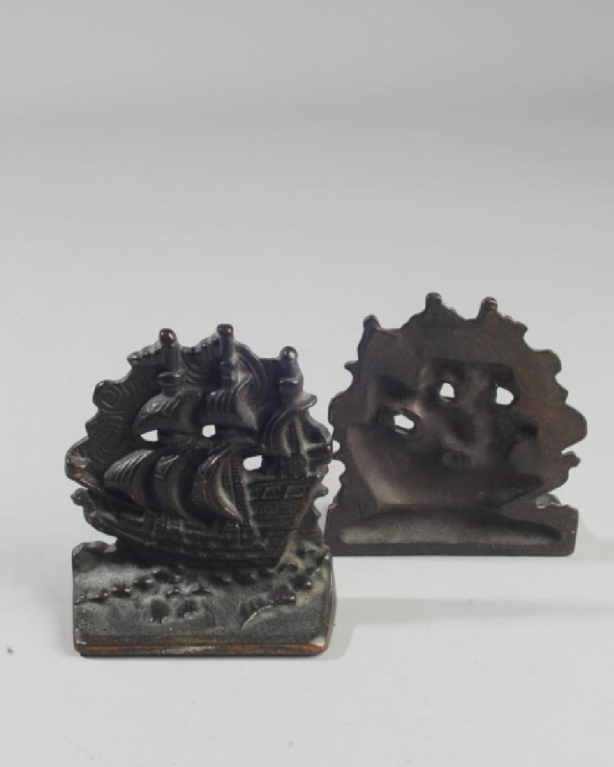 Pair Vintage Cast Iron Galleon Ship Bookends