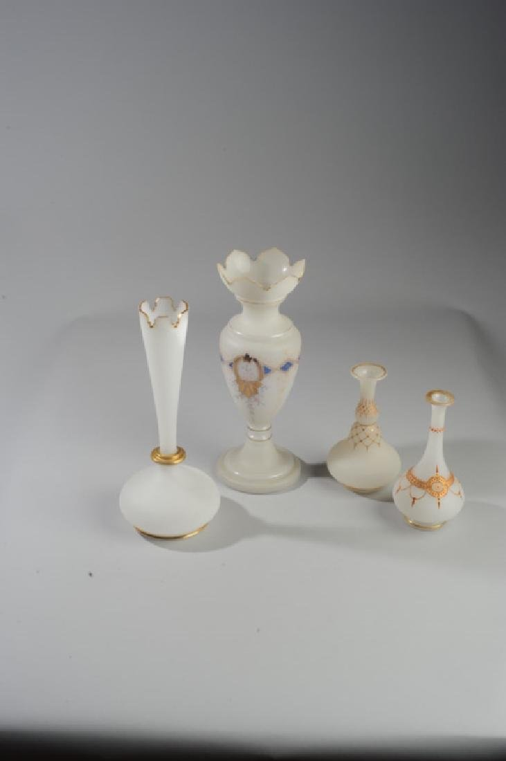 Four Antique French Opaline White Glass Vases