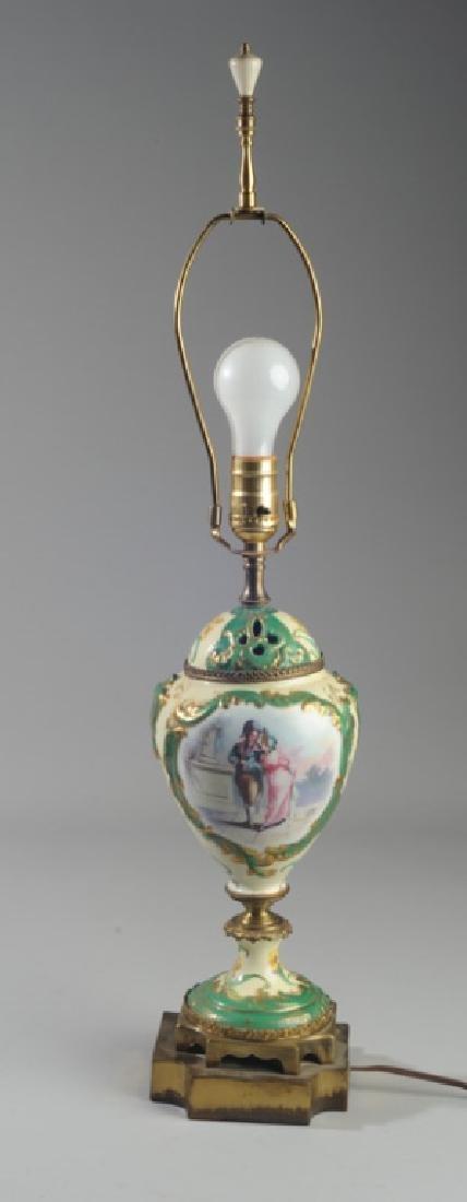 19th C. Sevres Style Porcelain Portrait Lamp