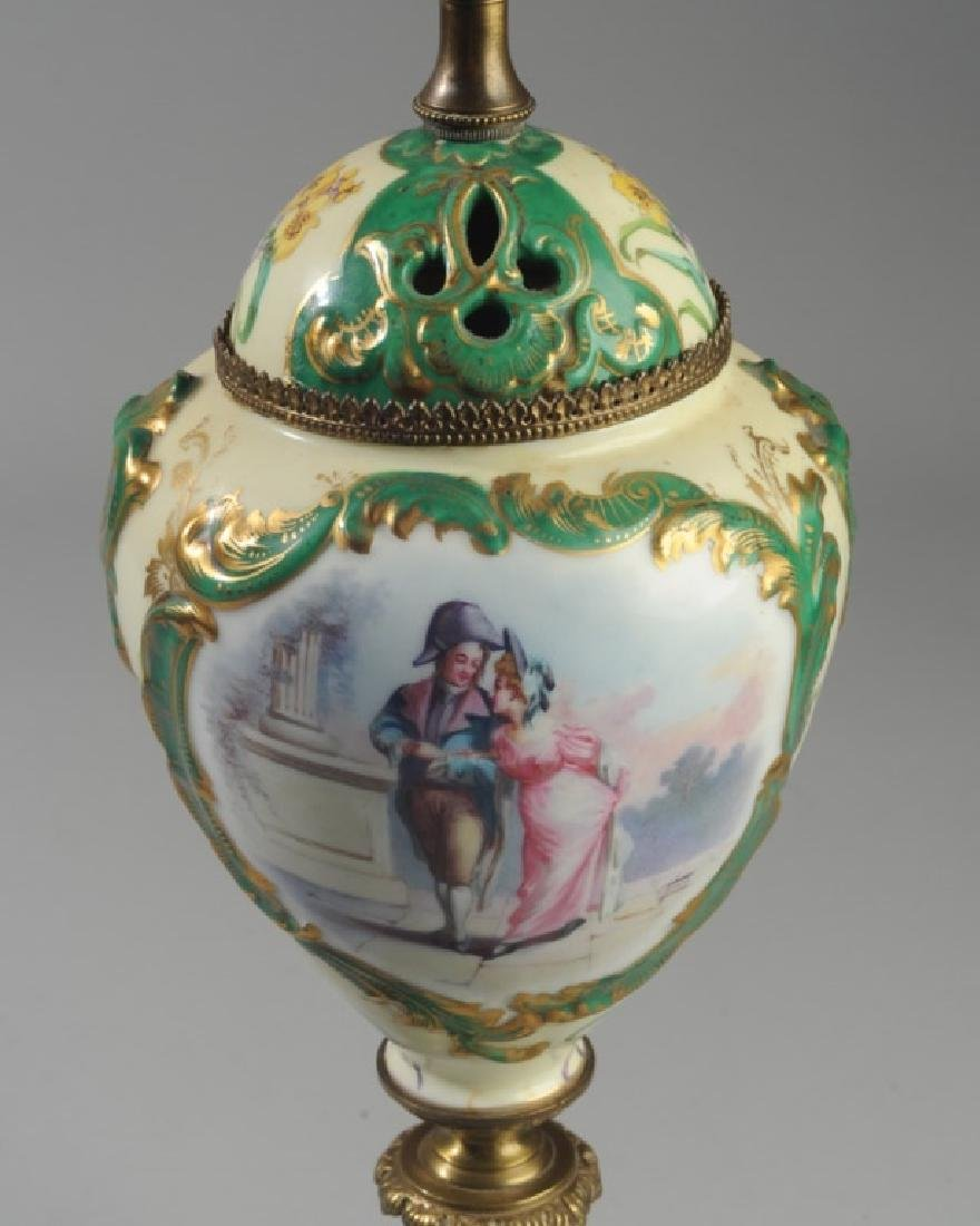 19th C. Sevres Style Porcelain Portrait Lamp - 2