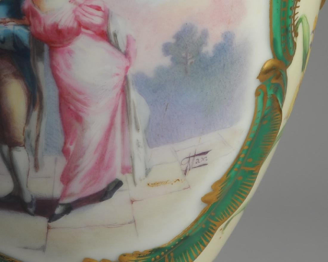 19th C. Sevres Style Porcelain Portrait Lamp - 3