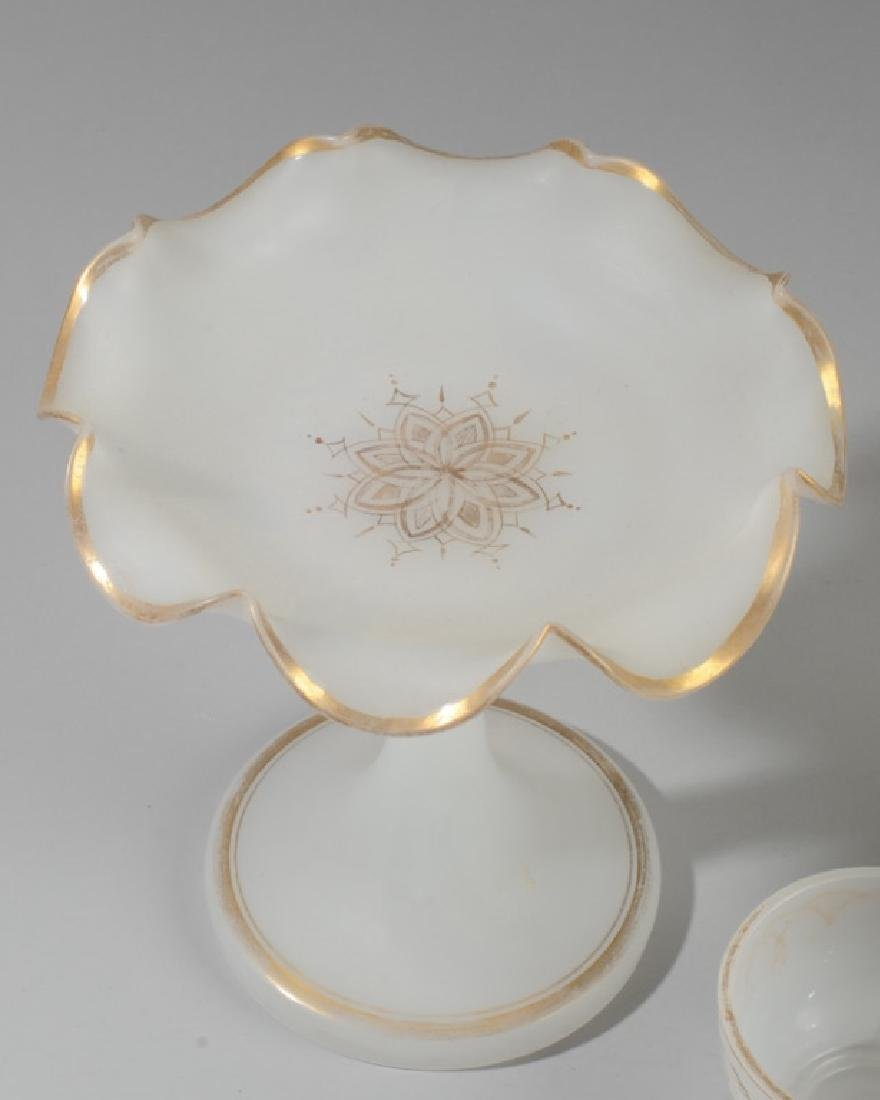 Lot of Antique French Opaline White Glass - 2