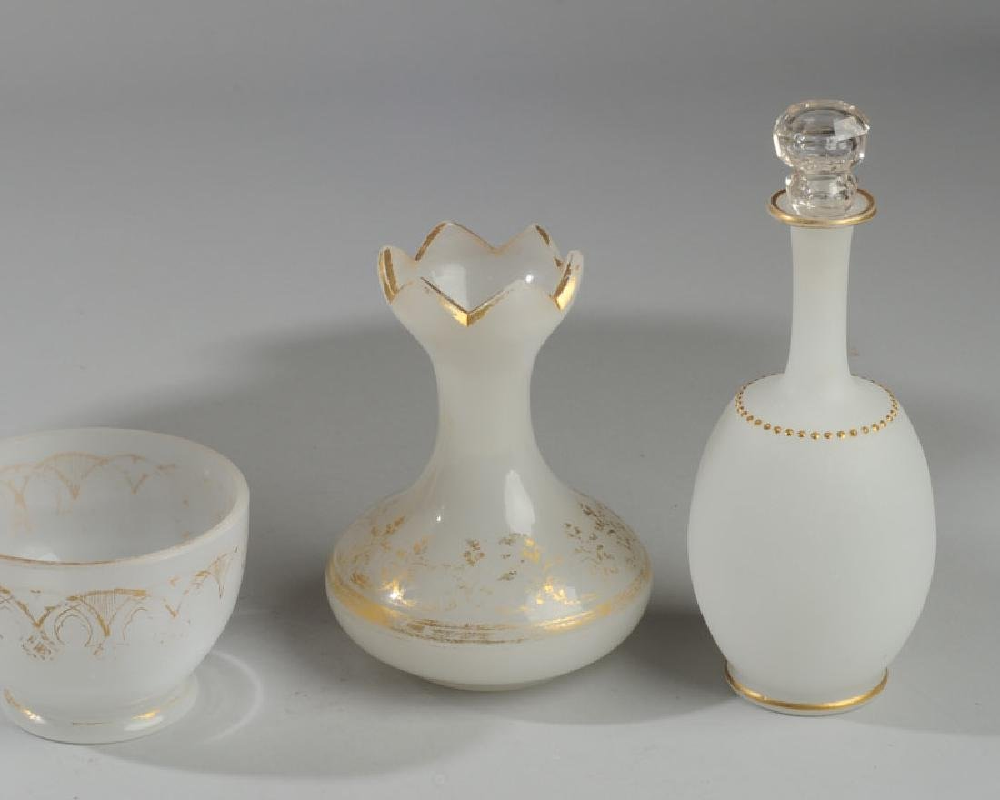 Lot of Antique French Opaline White Glass - 3