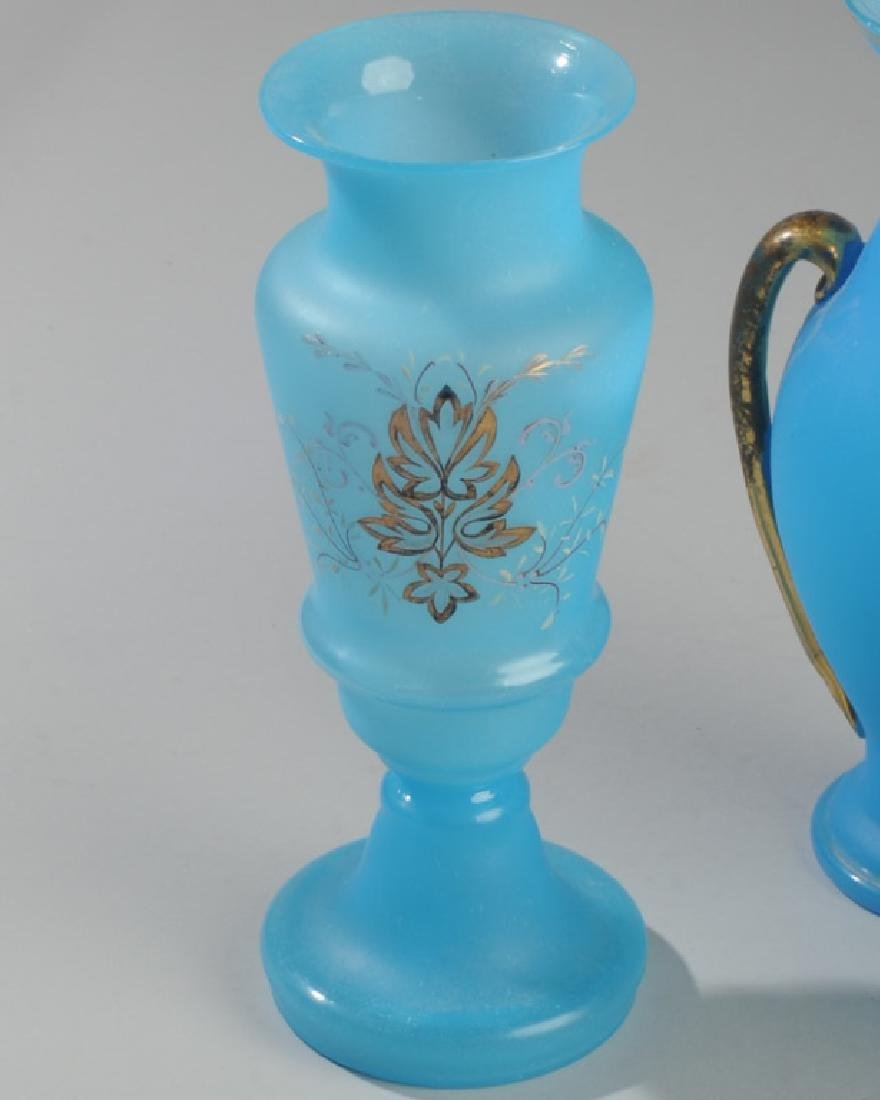Lot of Antique French Opaline Blue Glass - 3