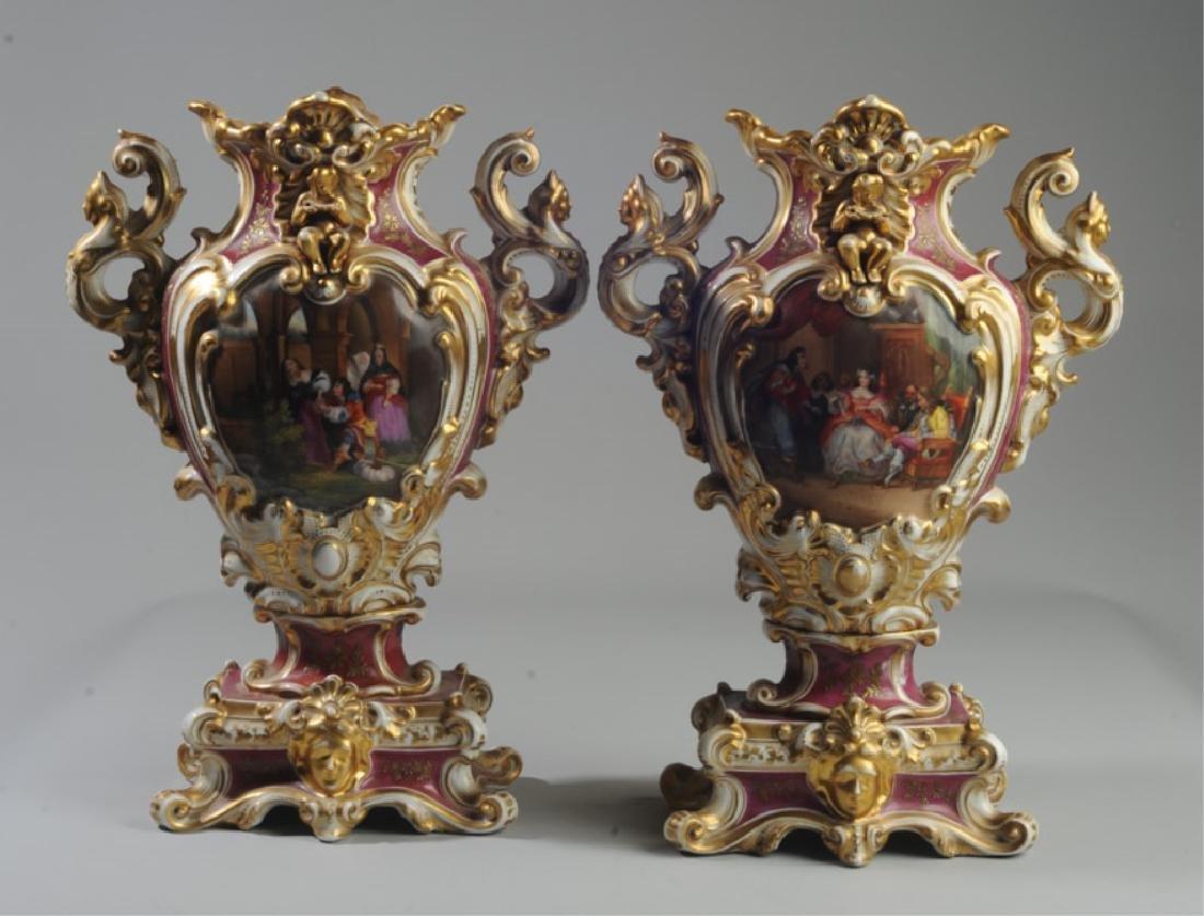 Pair Old Paris 2-Part Scenic Porcelain Vases