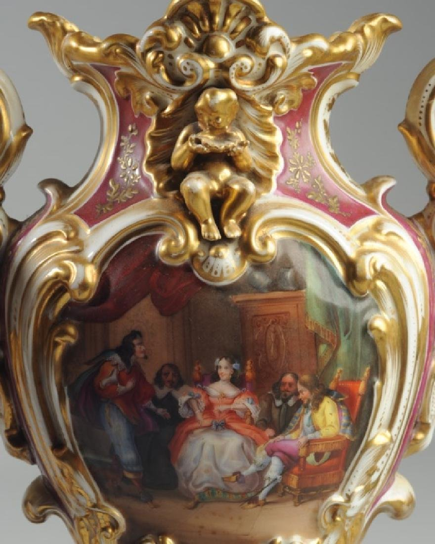 Pair Old Paris 2-Part Scenic Porcelain Vases - 4