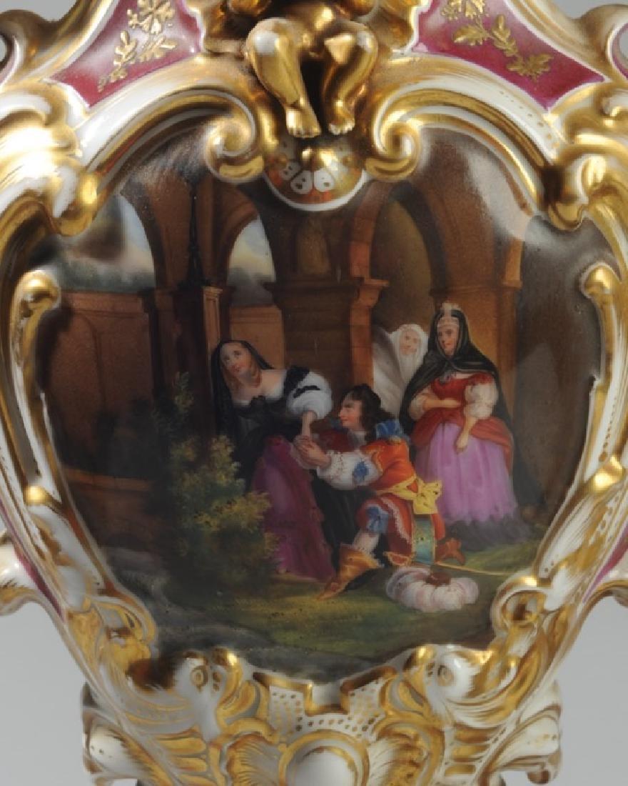 Pair Old Paris 2-Part Scenic Porcelain Vases - 5