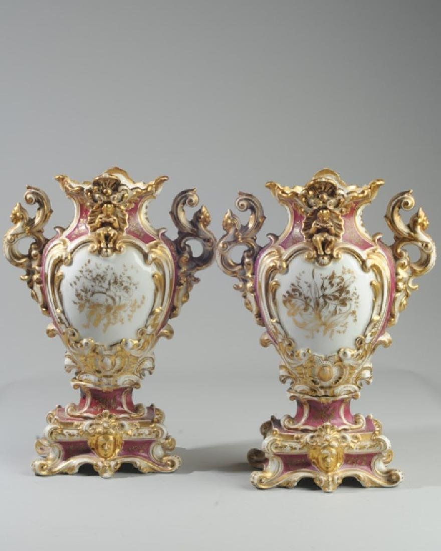 Pair Old Paris 2-Part Scenic Porcelain Vases - 6
