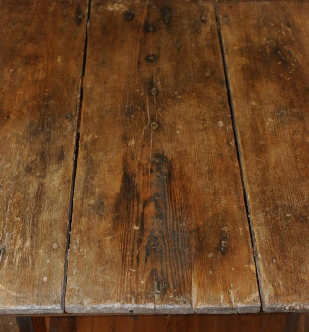 Primitive Hand Made Pine Farm Table - 2