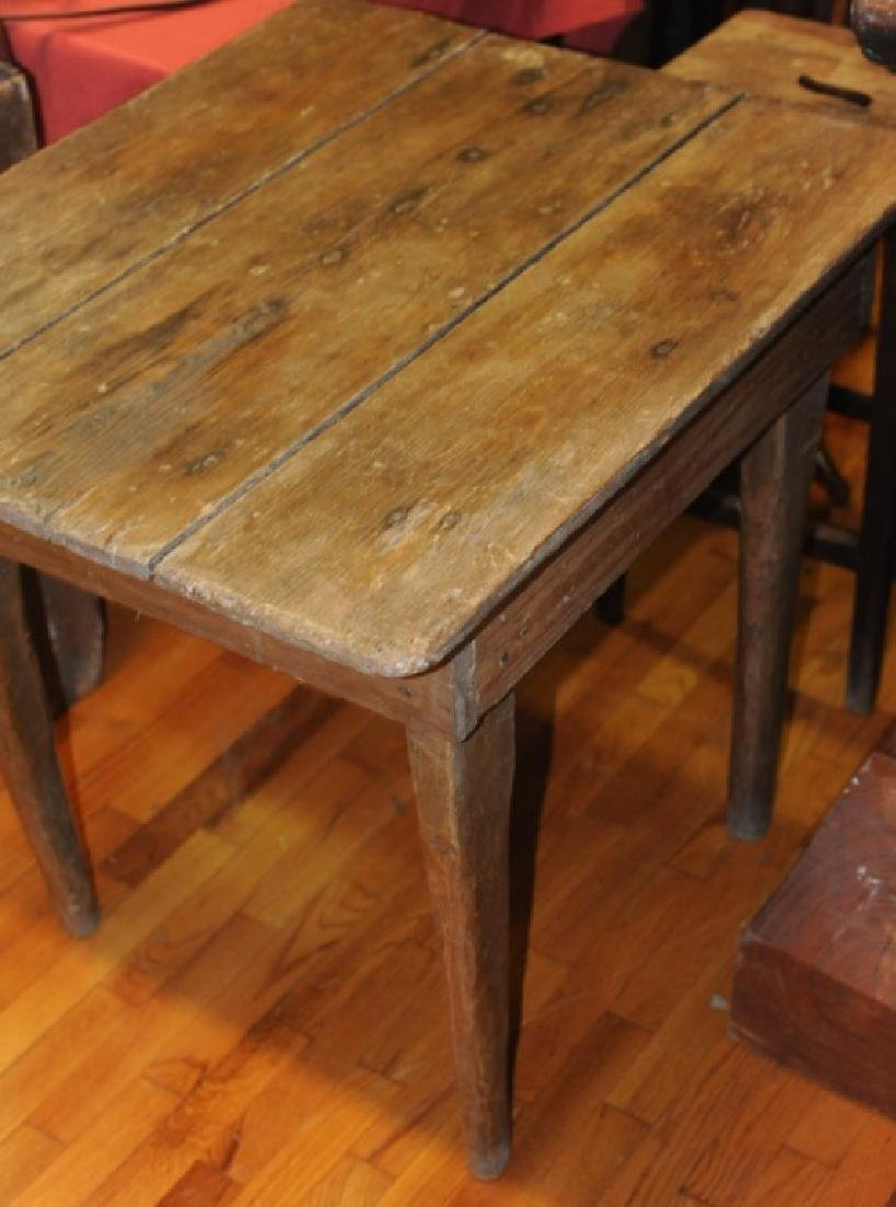 Primitive Hand Made Pine Farm Table - 3