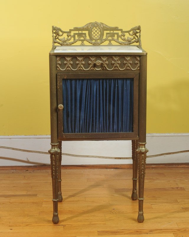 French Gilt Bronze & Glass Marble Top Cabinet