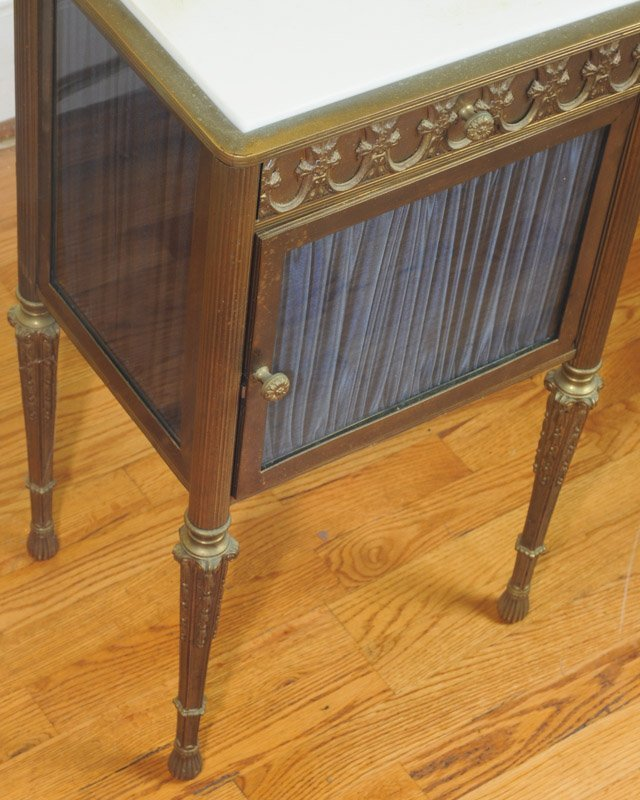 French Gilt Bronze & Glass Marble Top Cabinet - 2