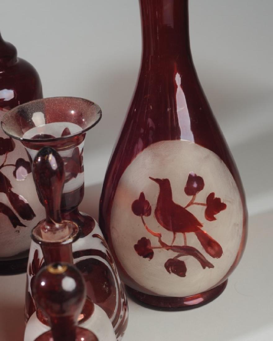 Lot 19th C. Bohemian Ruby Flash Glass - 4