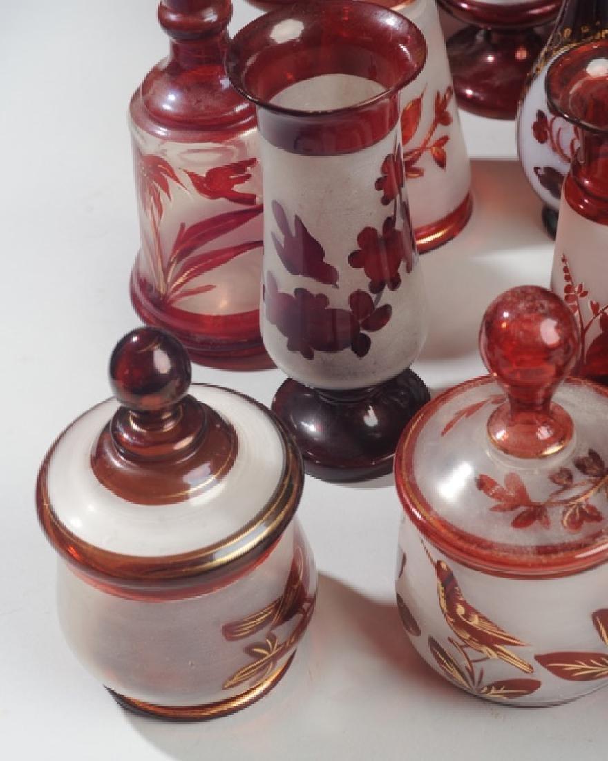 Lot 19th C. Bohemian Ruby Flash Glass - 6