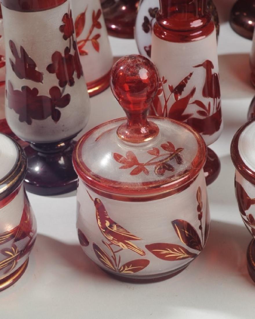 Lot 19th C. Bohemian Ruby Flash Glass - 7