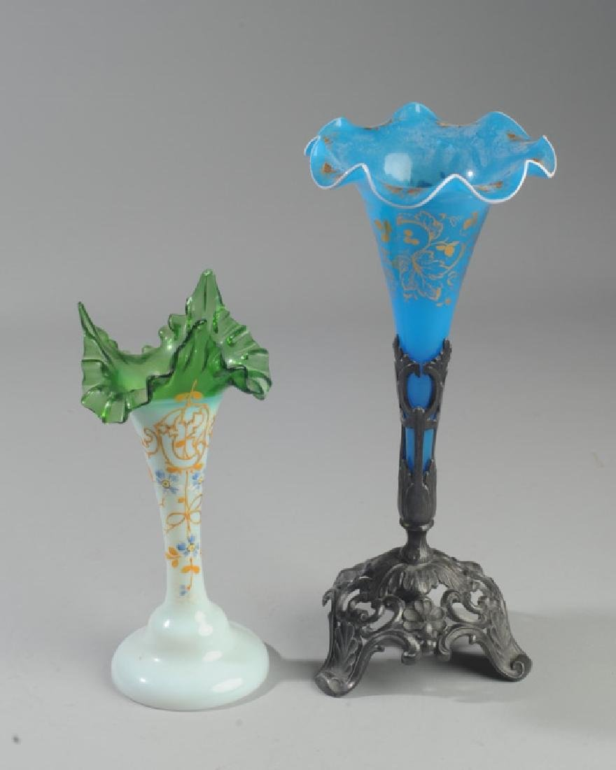French Opaline Epergne and Bohemian Glass Vase