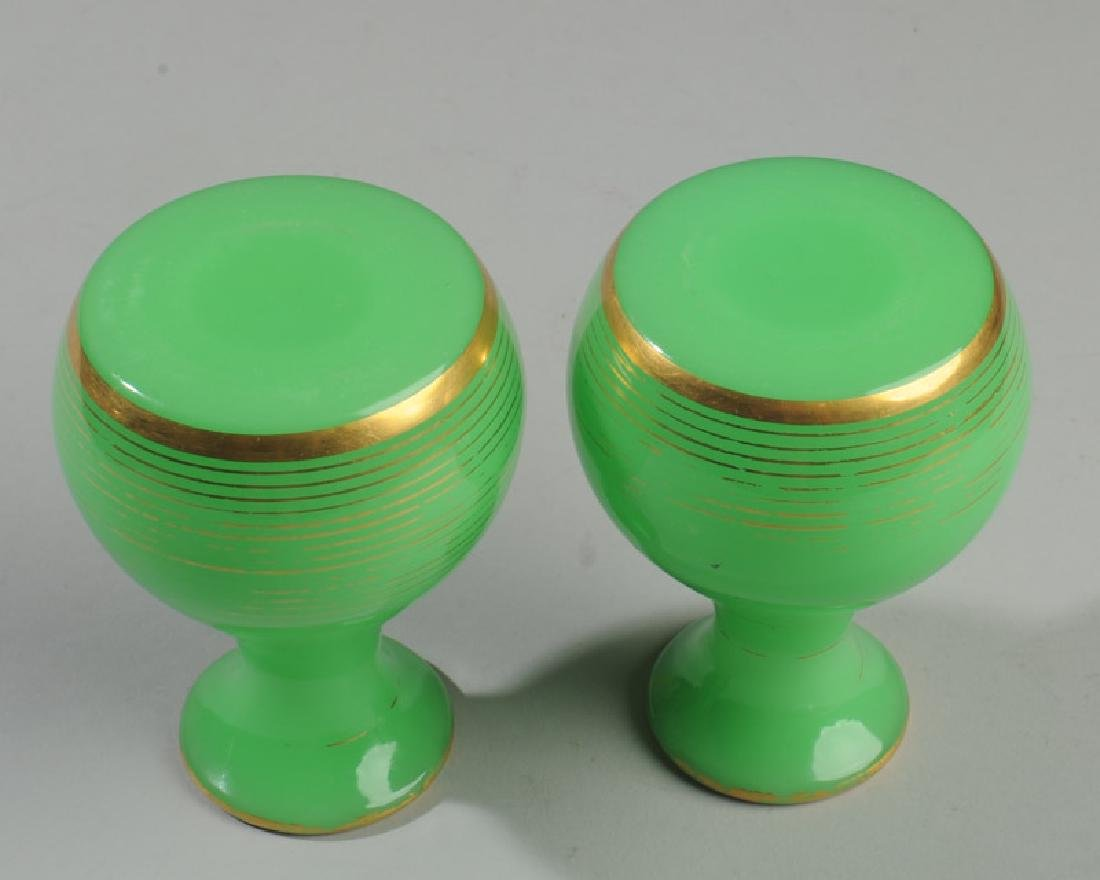 Pair Antique French Opaline Green Vases - 2