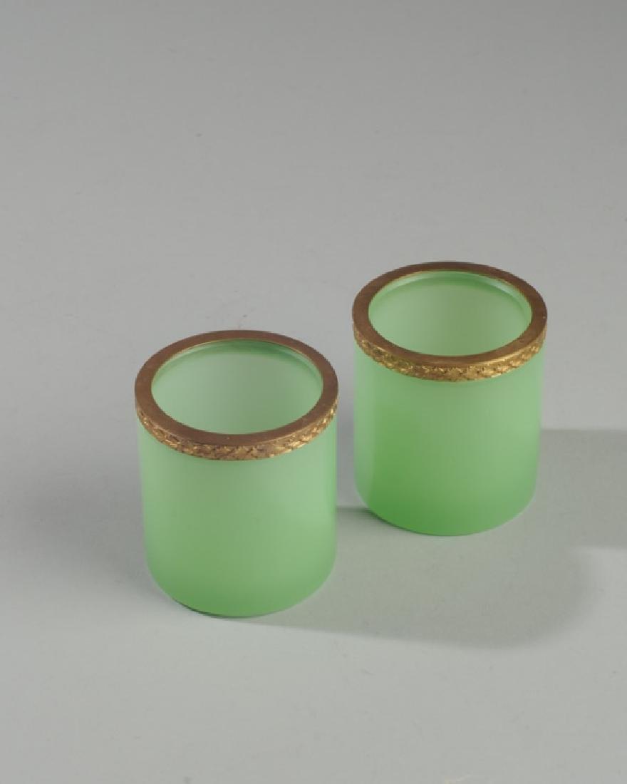 Pair Antique French Opaline Green Dresser Jars