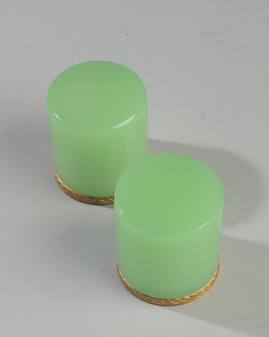 Pair Antique French Opaline Green Dresser Jars - 2