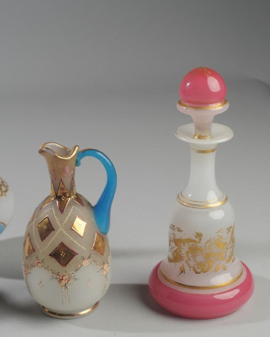 Lot Enameled Opaline Glass Scent Bottles - 2