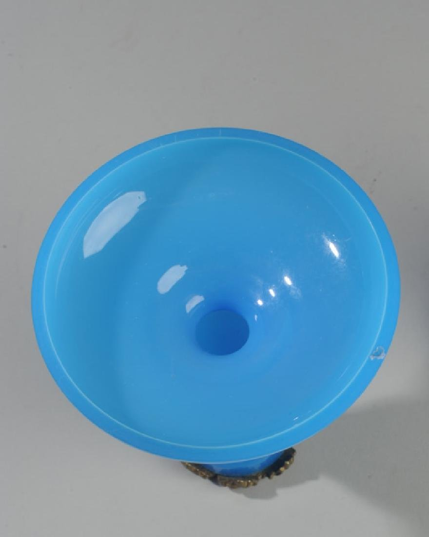 Antique French Blue Opaline Candlesticks - 4