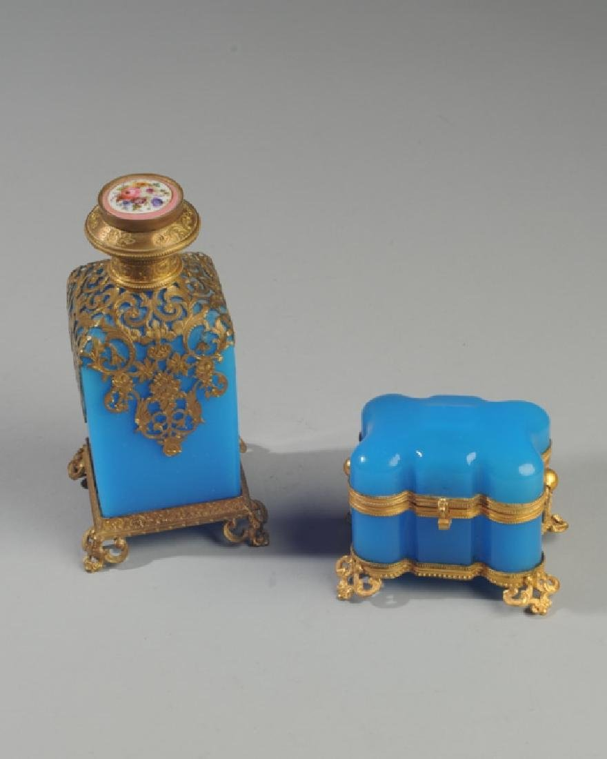 19th C French Blue Opaline Scent Box & Bottle